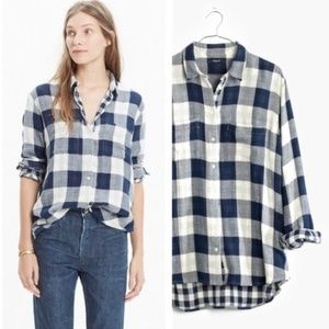 Madewell Oversized Boyshirt in Mixed Buffalo Check